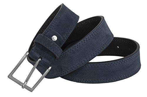 Cintura uomo RONCATO blu in pelle scamosciata impunturata lunga 105 cm R6433