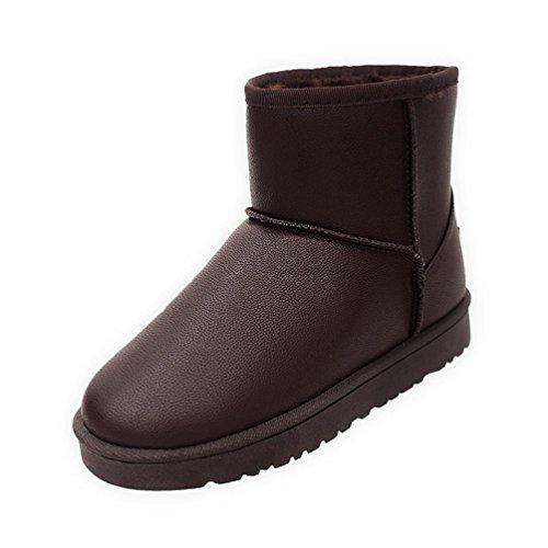 Graue Ankle-boots (Stiefel Damen Flache Schuhe Sonnena Ankle Boots Frauen Kurzschaft Stiefel Frauen Knöchel Fell Winter Warm Gefütterte Schneeschuhe Baumwoll Schuhe SkidProof Martin Stiefel (39, Sexy Braun))