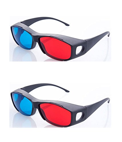 HRINKAR Anaglyph 3D Glasses for Mobile Phone, Computer, Laptop, TV, Projector and Magazines Pack, Medium (Multicolour, 3D1209) - 2 Pcs