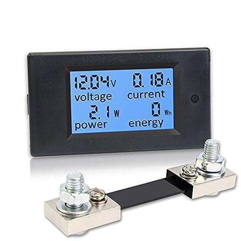 qianyu Écran LCD numérique voltmètre DC 6,5–100V 100A Courant Tension