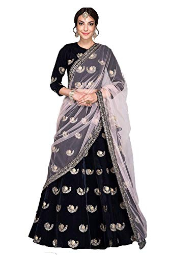 Varudi Fashion Women\'s Velvet Embroidered Semi-Stiched Lehenga Choli (BOM1_Free Size_navy blue)