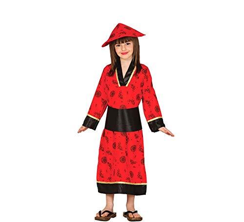 Guirca Chinesin Kinderkostüm Roter Kimono Rote Asiatin Mädchen Kleid Rot Lang Kinderkostüm Gr. 98-146, Größe:122/128 (Kostüme Mädchen Für Asiatische)