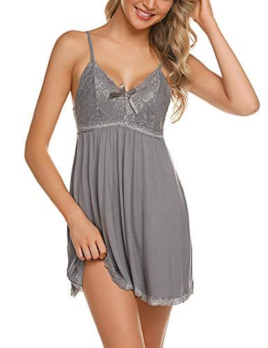 ADOME Negligee Sexy BH Babydoll Nachtwäsche Sleepwear Nachthemd für Damen Spitze Nachtkleid Dessous mit Spitzendetail