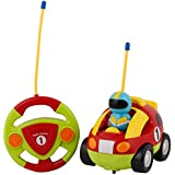 Rvold Lovery Cartoon R/C Race Car With Steering Remote Control, Music And Lights Electric Radio Control Toy For Baby Toddlers Kids And Children (Color May Vary)