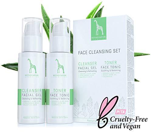 Gesichtsreinigungs-Set mit BIO-Aloe Vera und Hyaluronsäure - NATURKOSMETIK VEGAN - 2 x 125 ml by Mother Nature Cosmetics - Waschgel und Gesichtswasser für normale Haut, Mischhaut und unreine Haut