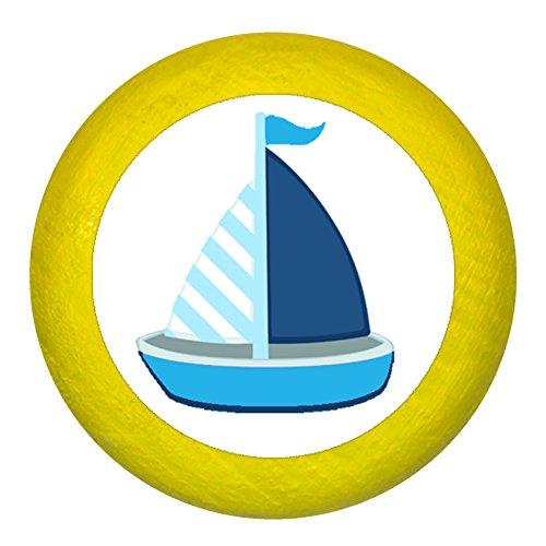 Kommodengriff Möbelknopf Möbelgriff Möbelknauf Jungen hellblau dunkelblau blau Massivholz Buche - Kinder Kinderzimmer Segelboot Boot Schiff blau dunkelblau weiß gestreift maritim - gelb (Glänzende Möbelknöpfe)