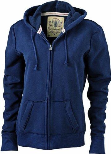 James & Nicholson - Kapuzenjacke Ladies' Vintage Hooded Sweatshirt, Giacca Donna Blu - blu navy