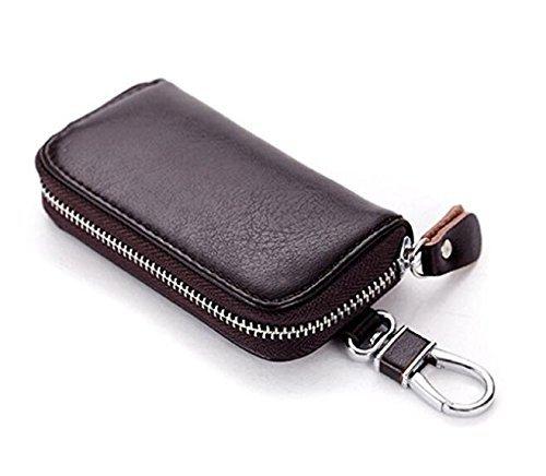 7cbc755d826ed Azornic Men Leather Zip Around 6 Hook Key Case Car Key Holder Wallet  (coffee) - Buy Online in Oman.