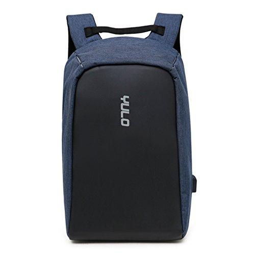 Anti-Diebstahl Laptop Rucksack mit USB Anschluss für Schule,Uni,Business,Reisen,Größe: 27 * 41 * 13cm,für Herren,Damen,Kinder,Canvas Wasserdicht,Navy Blau,MIT 14 - Zoll - Computer