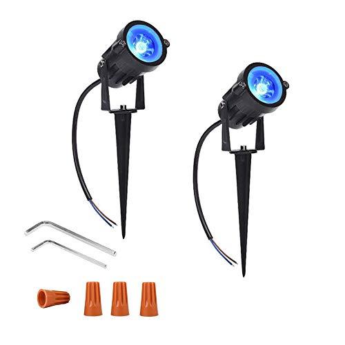 (Onerbuy 12V LED Rasen Licht Wasserdichte Außenwände Bäume Flaggen Scheinwerfer 5 Watt COB Garten Hof Weg Landschaft Beleuchtung mit Spike Stand, Packung mit 2 (Blau))