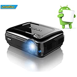 LESHP Proyector LED de Video 1080P HD 3200 Lúmenes, Proyector Portátil Cine en Casa, Inalámbrica WIFI Bluetooth 4.0 Android 6.0 para Películas Juegos, Ayuda USB / TV/ AV / HDMI / VGA - Negro