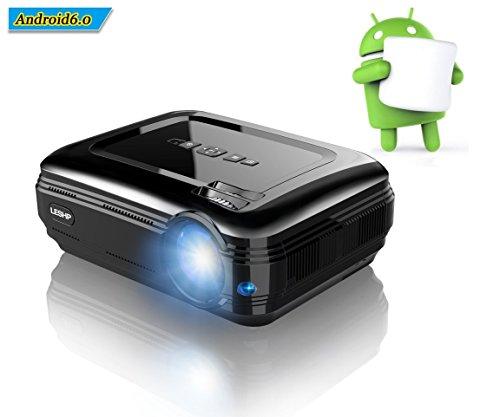 LESHP Full HD Beamer 1080P LCD Beamer 1920 x 1080 Höchste Resolution Android 6.0 WiFi Bluetooth 4.0 1G + 8G 3200 Lumen WIFI Wireless Verbindung Projector für Spiele Online / Surfen im Internet / Heimkino