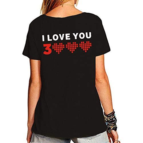 Csi Sexy Kostüm - Kviklo Deman Plus Size Mann-Unisexpaar-Abnutzungs-T-Shirt Spitze Ich Liebe Dich 3000mal für Wunder-Eisenmann Tony Stark Druck(M(38),Schwarz-Damen 1)