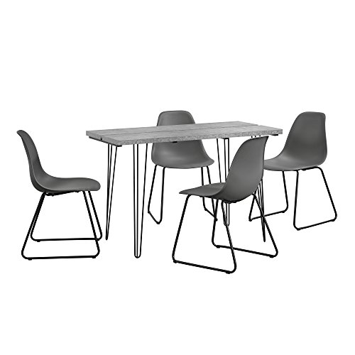 [en.casa] Tavolo da Pranzo Design per 4 Persone - Effetto calcestruzzo con  4 sedie Moderne - Grigio Scuro - 82 x 46,5 x 56 cm
