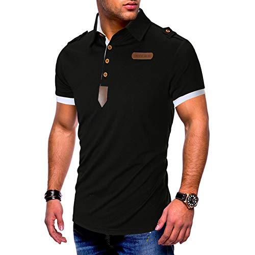 XJWDTX Herren Einfarbig Leder Hemdknopf Design Revers Kurzarm-Polo-Shirt