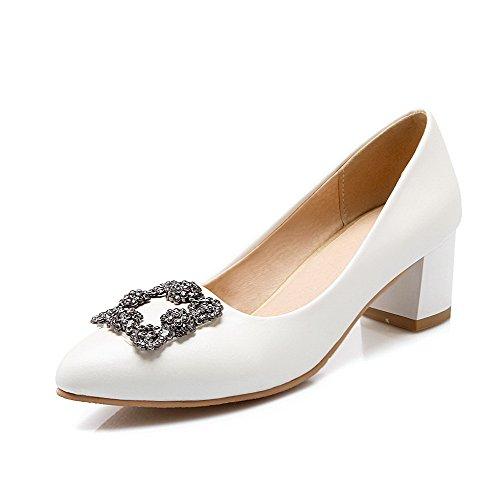 VogueZone009 Femme Tire Pu Cuir Pointu à Talon Correct Couleur Unie Chaussures Légeres Blanc