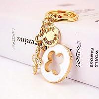 Yunfeng Cute Keychain Exquisite four-leaf clover key chain Zinc alloy rhinestones Car keychain ornaments Women Handbag Decoration Gift