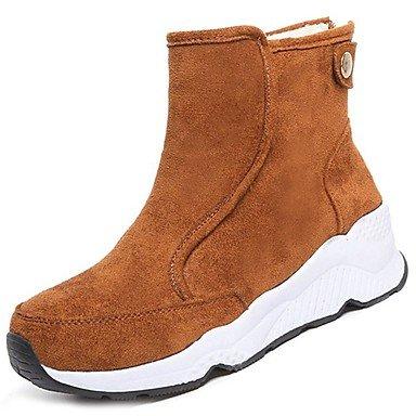 SANMULYH Scarpe Donna Microfibra Sintetico Pu Inverno Combattere Stivali Stivali Tacco Piatto Rotondo Mid-Calf Toe Stivali Per Casual Giallo Nero Giallo