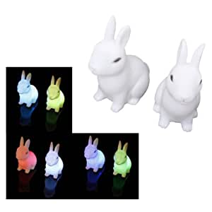 SODIAL(R) 2Pcs Color Changing Cute Rabbit-Shaped LED Night Light Decoration Bedside Lamp