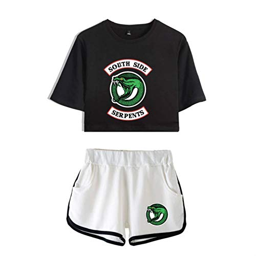 2 Stück Zwei Stück Pyjama Set (Damen Sommer Baumwolle Kurze T-Shirts + Kurze Hosen Zwei Stücke Set Pyjamas Sport Anzug Riverdale South Side (6,XS))