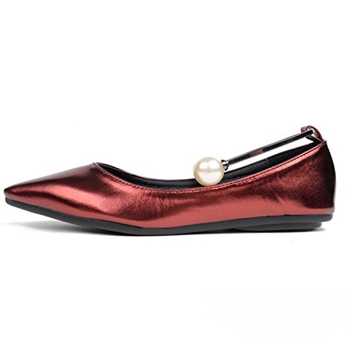 Oasap Women's Pointed Toe Pearl Flat Shoes red