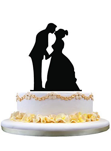 Braut und Bräutigam küssen Silhouette Handtuch Hochzeitstorte, Hochzeitstorte Topper Paar -