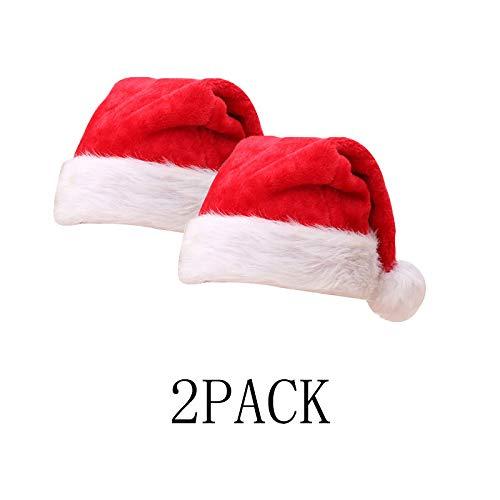 BSDK Weihnachtsmütze, Lange rote pelzmütze, geeignet für Erwachsene Kinder 2pack