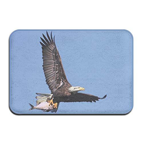 Non-Slip Indoor/Outdoor Door Mat Bath Mat,Hunter Bird Carrying A Fish to The Nest In Open Blue Sky Predator Cycle of Life,for Living Room Bedroom Rugs Place Mats