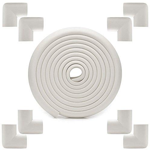 Beauty360 Rolle-Ecken und Kanten für Babyphone und Kinder. Erhöht die Sicherheit des Bebe in jeder Art von Möbeln 2 Meter Rolle Polsterung Gummi und 8 Ecken stoßfest (gebrochenes Weiß)