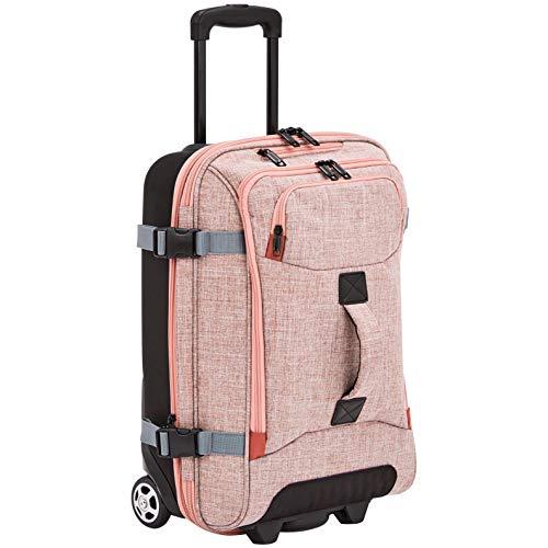 AmazonBasics Rolling Travel Duffel Bag Luggage with Wheels, Small, Salmon
