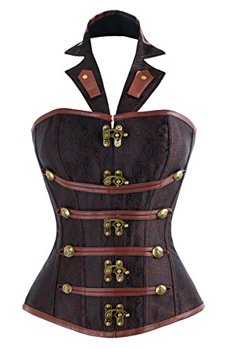 Charmian Women's Steel Boned Halter Goth Vintage Steampunk Overbust corsé Top with Buckles Halter-Brown Small