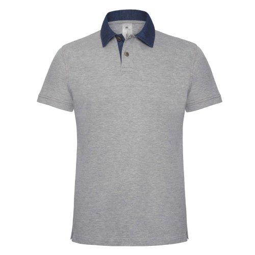 B&C Herren Polo-Shirt mit Denim-Kragen, Kurzarm Denim/Marineblau