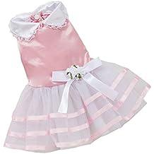 Ropa para perros Vovotrade Falda de encaje del arco de la raya de los vestidos de la princesa del tutú del perrito (S, Rosa)