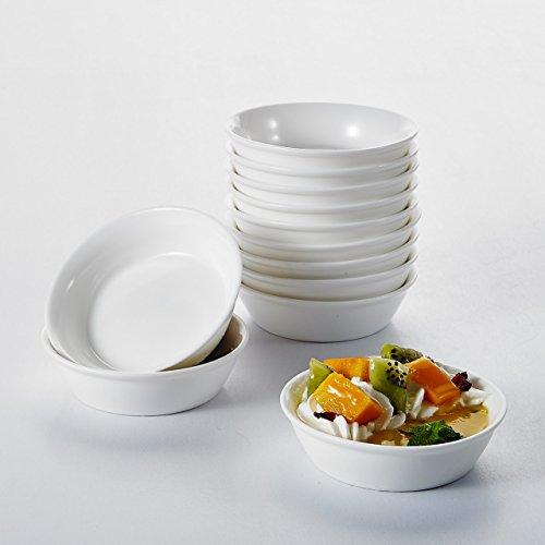 """Malacasa, Serie Ramekin.Dish, 12er Set 4""""/10cm/120ml SUPER MINI Dessertschale Snackschale Porzellan Dessert Snack Schälchen"""