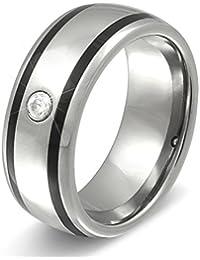 Juwelier Schönschmied - Damen Wolframring Verlobungsring Ehering Freundschaftsring Atria Wolframcarbid Zirkonia inkl. persönliche Wunschgravur NrW17D