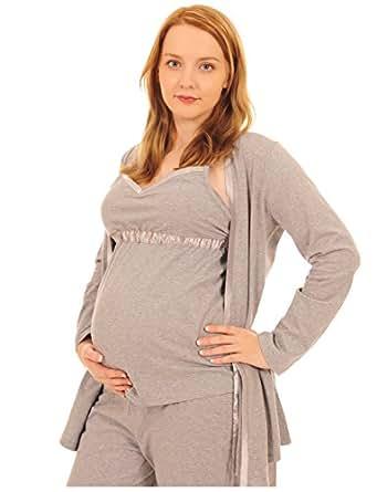 Pink Pixie - Pigiama per maternità e allattamento, 3pezzi con vestaglia, per un facile allattamento Grey 10 12