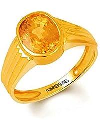 S KUMAR GEMS & JEWELS Certified Natural Yellow Sapphire(Pukhraj) 9.25 Ratti or 8.50 Ct Panchdhatu Ring