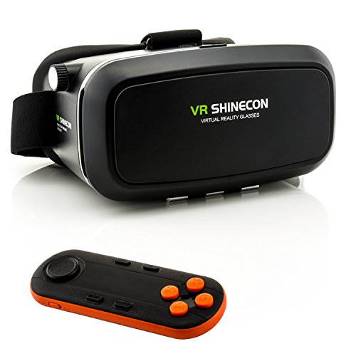 3D VR Brille für Virtual Reality + VR 3D Universal Bluetooth Controller in Schwarz/Orange - VR...