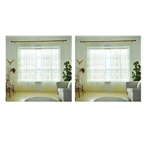 Luckilytop 2pcs pure color ricamato voile curtain tulle finestra tendaggi tende sheer trasparente e traspirante in camera ufficio hotel organza
