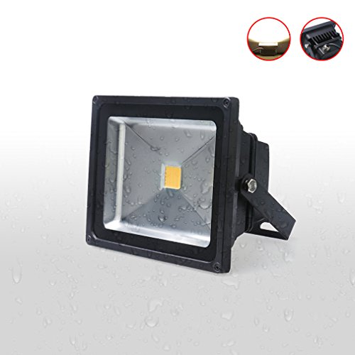 Auralum® 1x 20W LED Flutlicht Fluter Lampe strahler Außen Strahler Scheinwerfer Super hell Leuchte warmweiß Wasserdicht schwarz