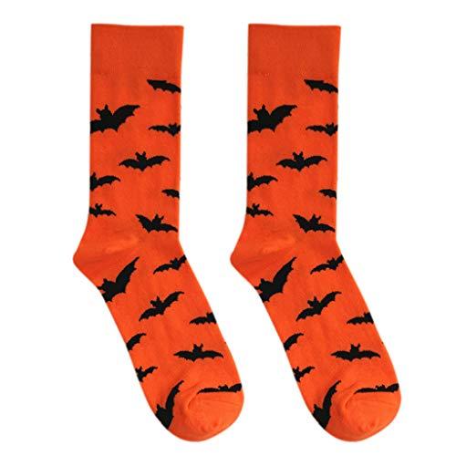 Xuniu Halloween Fledermäuse/Kürbis Muster Baumwolle Lange Crew Socken -
