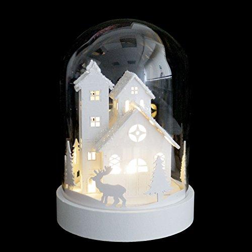 LED Escena Navidad casa campana cristal 18x ø12,5cm-Decoración
