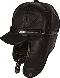 Sakkas Leather Ushanka Faux Mink Fur Trapper Bomber Pilot Hat With Earflap