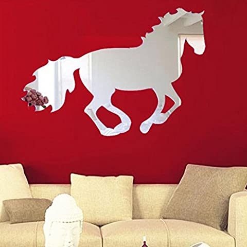 Fulltime(TM) Home Decoration Galloping Horse Sticker DIY Mirror Wall Clock Wall Sticker