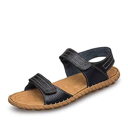 Herren Sandalen Lässig Einfach Leicht Komfortable Klettverschluss Outdoor Wasser Schuhe (Color : Schwarz, Größe : 43 EU) - Einfach Klettverschluss