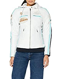 Urban Leather 58 Leren Bikerjack, Chaqueta de Moto para Mujer, Blanco (White), 36 / S