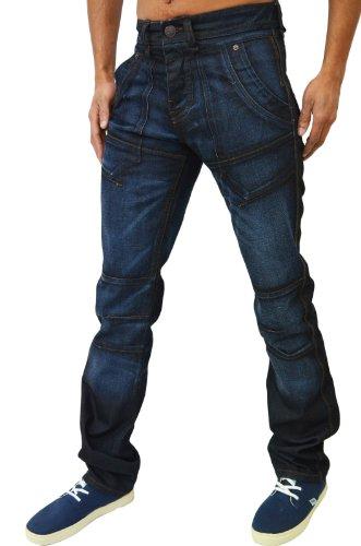 Judge & Jury - Herren Jeans Gerade Passform Panther Dunkelblaue Waschung Denim Jeans Blau