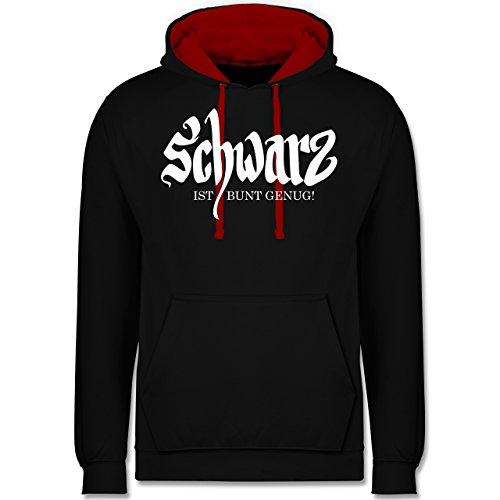 Nerds & Geeks - Schwarz ist bunt genug - Kontrast Hoodie Schwarz/Rot