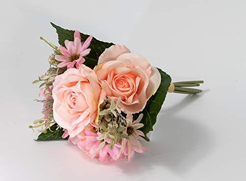 Künstliches Blumenarrangement 7 Kopf-Palastrosen für Hochzeit, Brautstrauß mit rosa Rosen, Gänseblümchen, Seide, Kunstblumen mit grünen Blättern, Stielen, Tischdekoration, Ideen, Heimdekoration, Party
