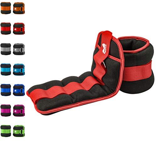 Reehut pesi da caviglia/polso (1 paio) con cinturino regolabile per fitness, esercizio fisico, passeggiate, jogging, ginnastica, aerobica, palestra - rosso - 2x0,23kg